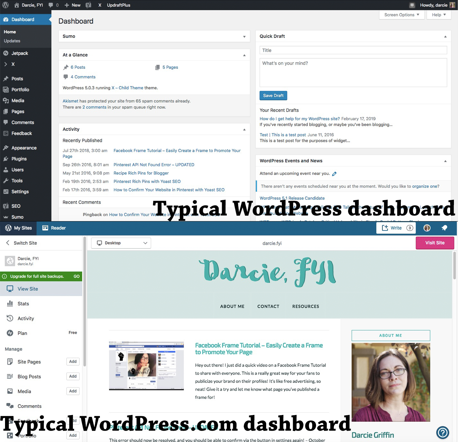 WordPress and WordPress.com dashboard comparison image